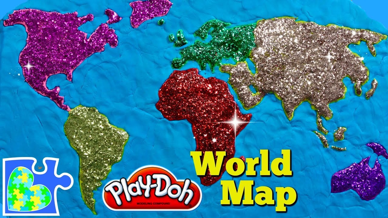 World Map For Kids Learn The Continents Play Doh Puzzle Of The Earth
