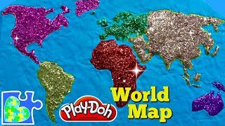 World Map for Kids:  Learn the Continents! Play-Doh Puzzle of The Earth