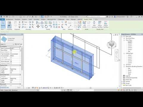 REVIT ARCHITECTURE 2018 LESSON-12 in TELUGU (How to create CURTAIN WALLS