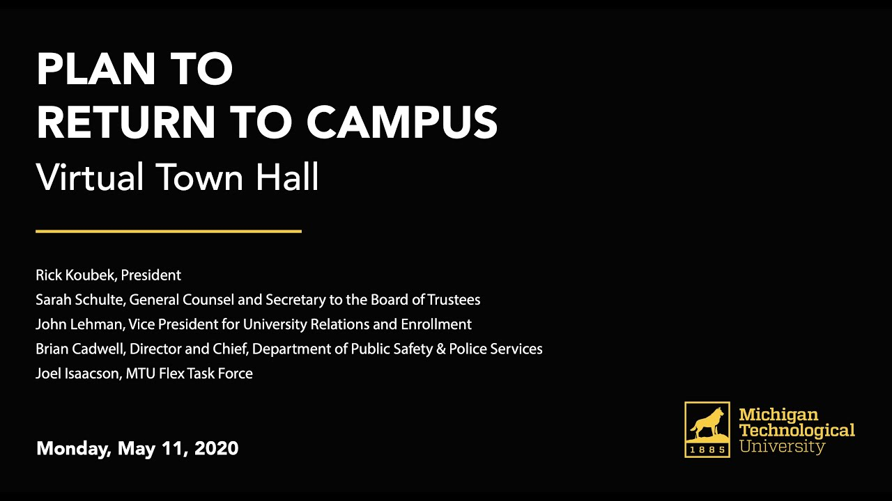 Preview image for Virtual Town Hall: Plan to Return to Campus video