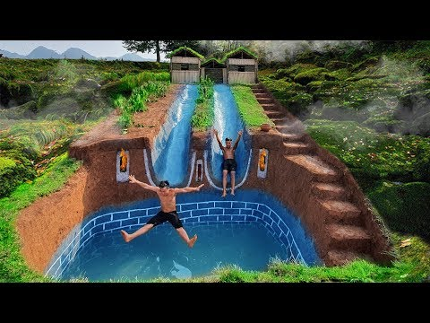 Dig To Build Swimming Pool Water Slide Longest Around Secret Underground House