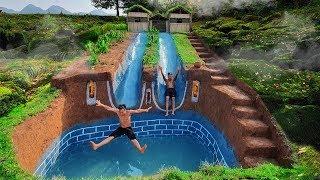 Dig To Build Swimming Pool Water Slide Longest Around Secret Underground House