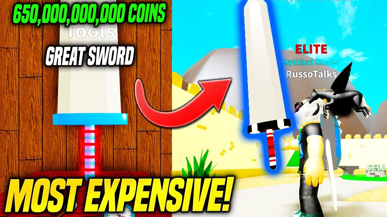 Player Hunter Roblox - Buying The Most Expensive Great Sword In Treasure Hunt Simulator