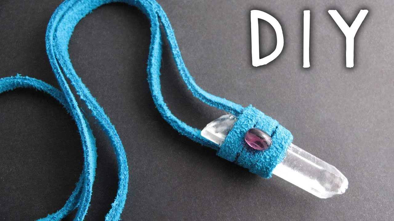 DIY Jewelry: Leather Wrap Crystal Necklace - YouTube