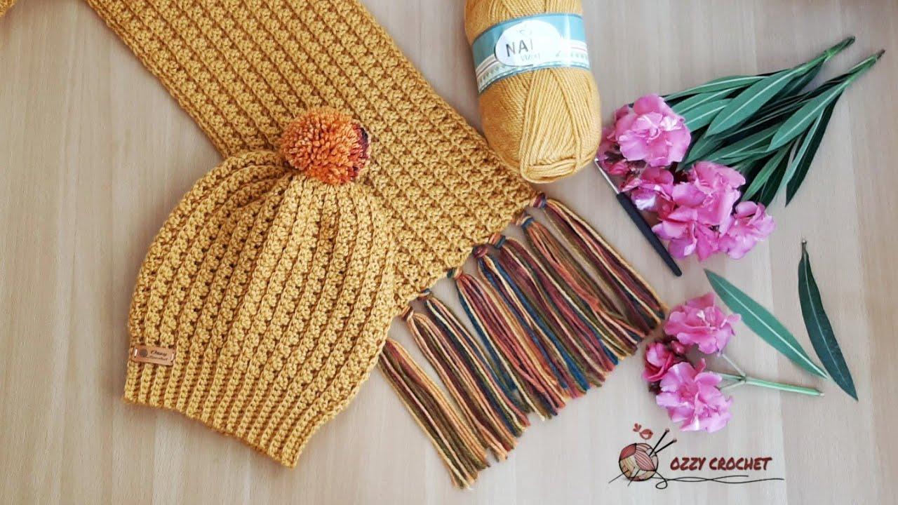 كروشيه كوفيه  رجالي أو حريمي بغرزة سهلة جدا_How to make scarf crochet easy _ Ozzy Crochet