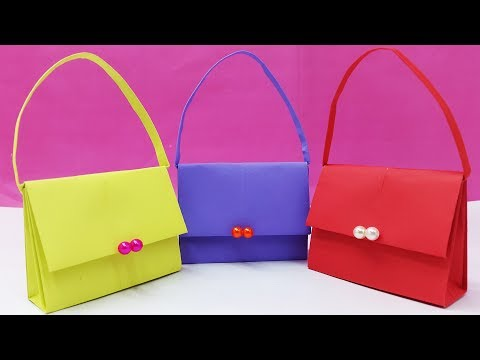 How to Make Bag with Color Paper | DIY - Paper Bag Tutorial | Handbag making easy instruction-crafts