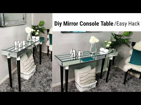 diy-mirror-console-table- -hilver-legs-ikea-hack- recycled-wood