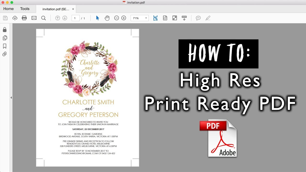 Ready To Print Wedding Invitations: How To Save A High Resolution Print Ready PDF