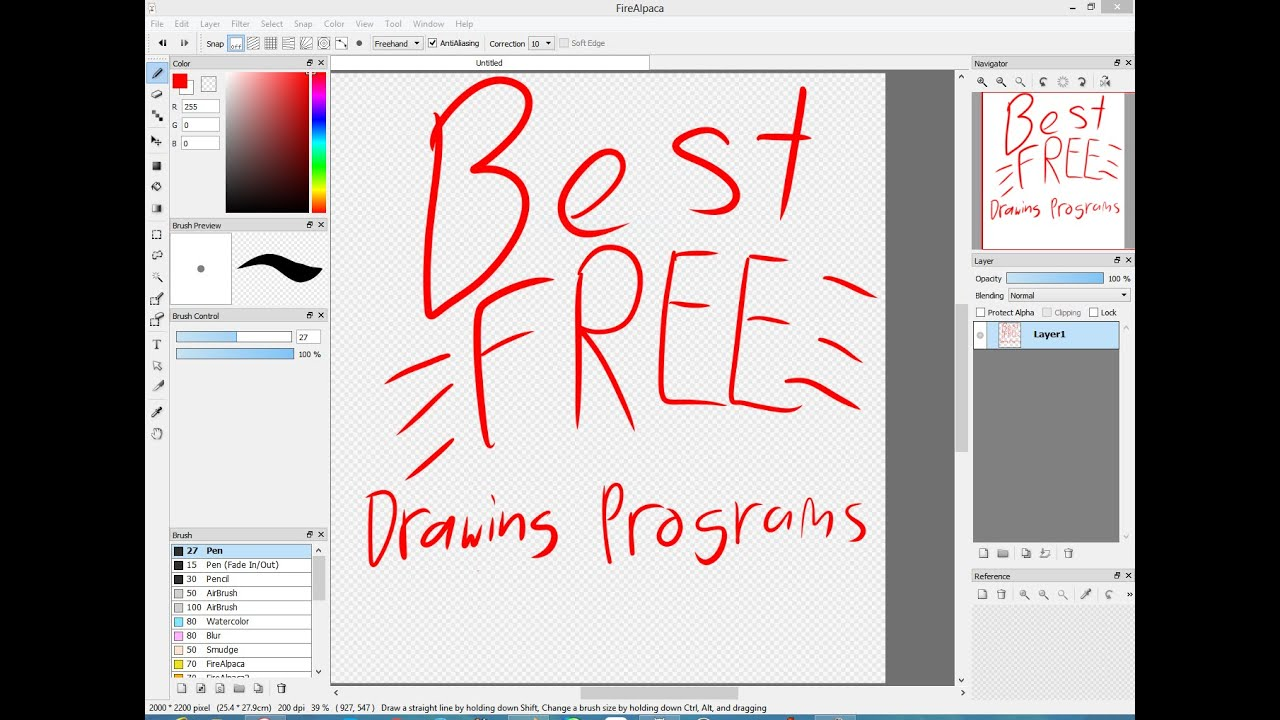 Best free digital drawing programs 2016 with links youtube for Drawing program free online