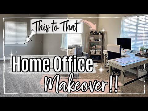 *NEW* HOME OFFICE MAKEOVER :: BEDROOM OFFICE CLEAN & DECORATE WITH ME 2020 :: ROOM TRANSFORMATION