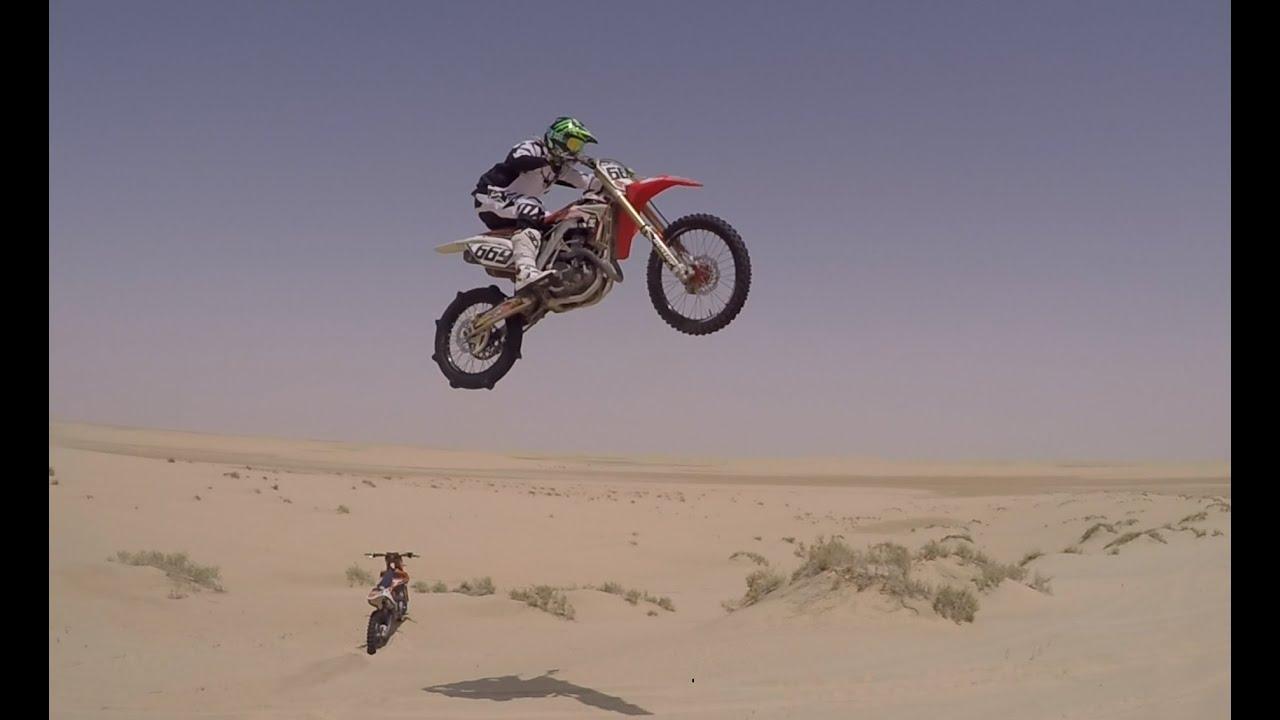 Dirt Bike Desert Free Riding Dune Jumps And Wheelies In Qatar