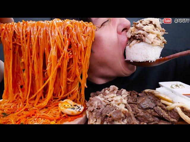 매콤하고 탱탱한 쫄면 & 차돌박이듬뿍 & 크림관자 & 돌초밥 먹방 SPICY COOL NOODLES & BEEF BRISKET ASMR REAL SOUND MUKBANG