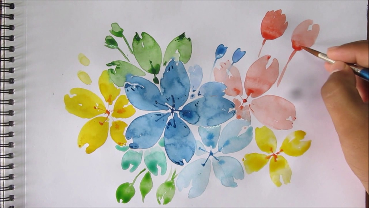 Easy watercolor painting for beginners easy flower for Simple flower paintings for beginners