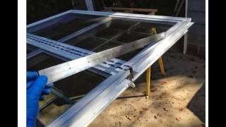 """Pella Vinyl mullion repair with 1-1/2"""" X 1/8"""" X 36"""" aluminum flat bar."""