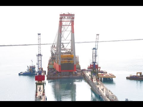 Docking of DERRICK BARGE OF AZERBAIJAN (DBA) in Baku Shipyar