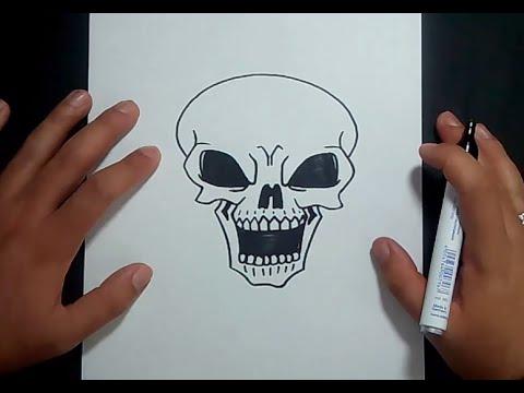 Como dibujar una calavera paso a paso 12  How to draw a skull 12