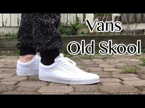 vans old skool white leather on feet