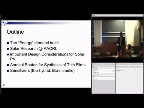 "Dr. Pratim Biswas-""Aerosol nanoparticle technology enabling solar energy applications"""