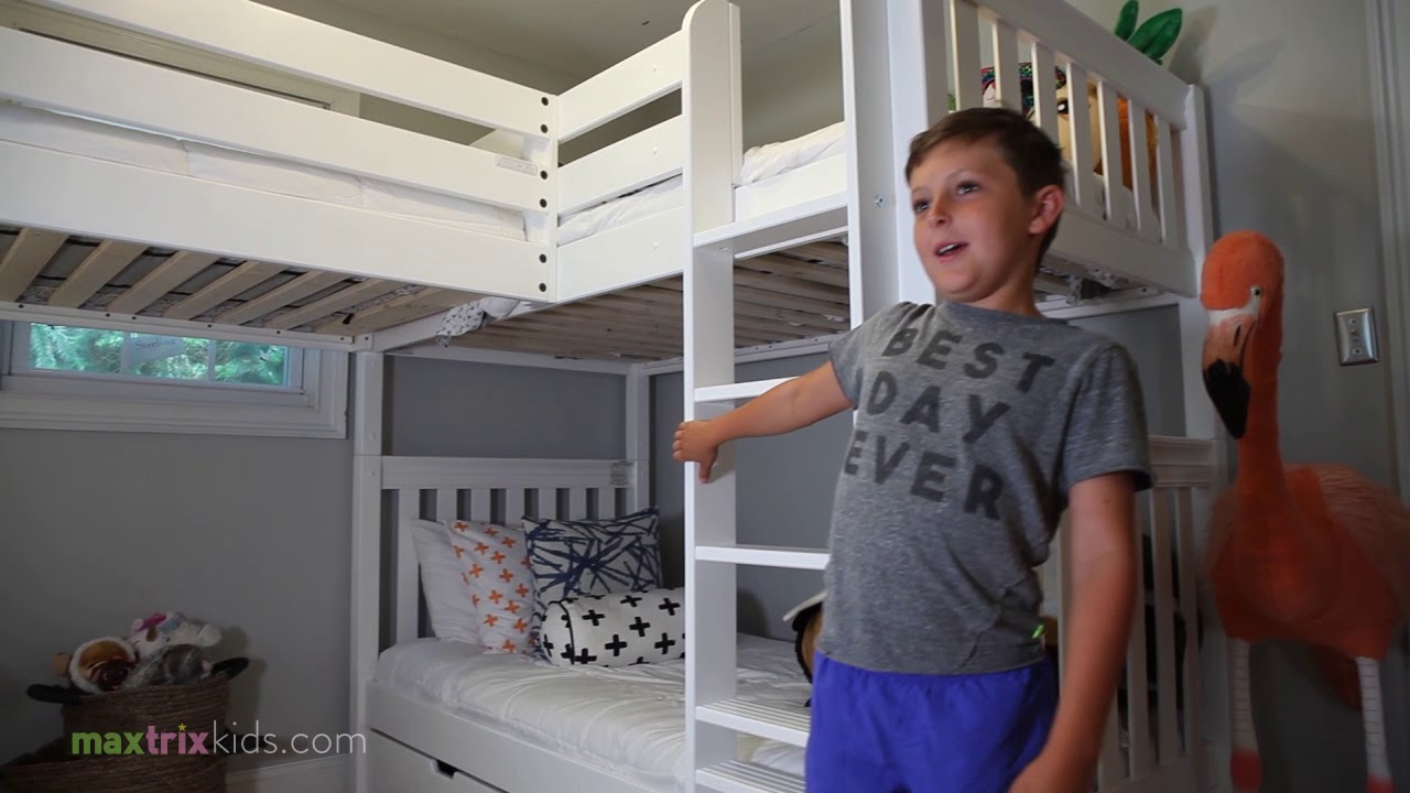 Sterling S Room Makeover With A Triple Corner Bunk Bed By Maxtrix Kids Youtube