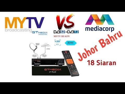 DVB-T2 MYTV + Mediacorp Broadcasting, Johor Bahru, Malaysia.