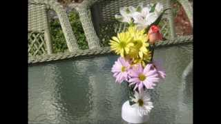 NoBrella Flower Vase easily fits in your patio table umbrella hole.