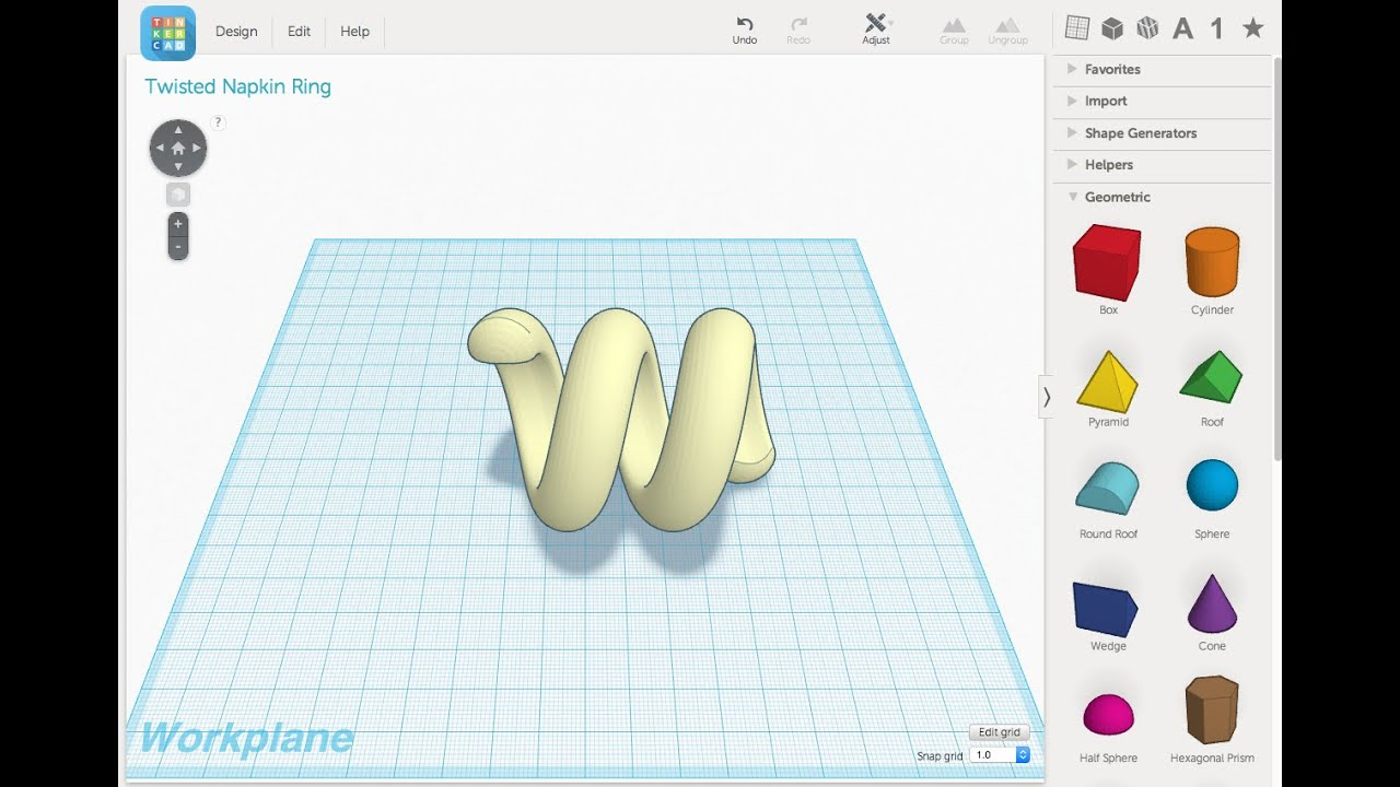Tinkercad Tutorial Twisted Napkin Ring Youtube