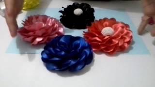Rosa Valentina – Flor com fita ou tecido de cetim