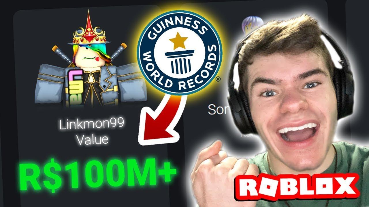 Hitting 100 Million Robux Value World Record Linkmon99
