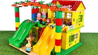 Peppa Pig House Building Lego Playset With Masha and the Bear Creations Toys Videos For Kids