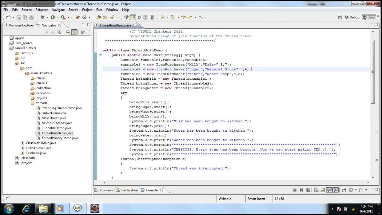Threads java examples.