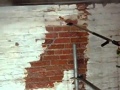 Очистка кирпичной стены от краски