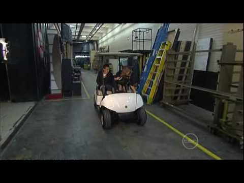 Golf buggy fun in the ROVE studios with Delta Goodrem