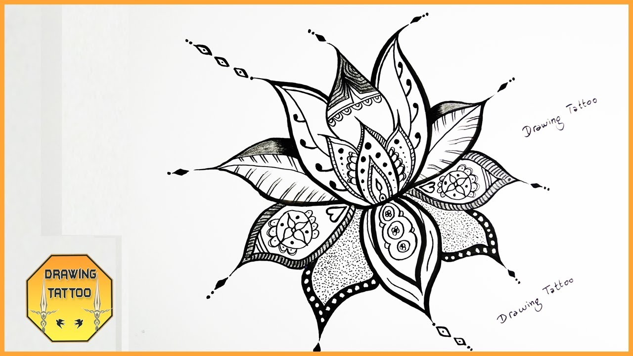 How To Draw A Simple Mandala Flower Design Youtube