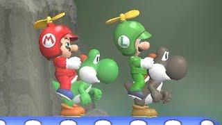 Newer Super Mario Bros Wii Co-Op (2 Player) Walkthrough - Part 3 - Mushroom Peaks