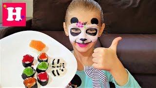 Аквагрим панда. Делаем детские суши-панда, японские роллы.