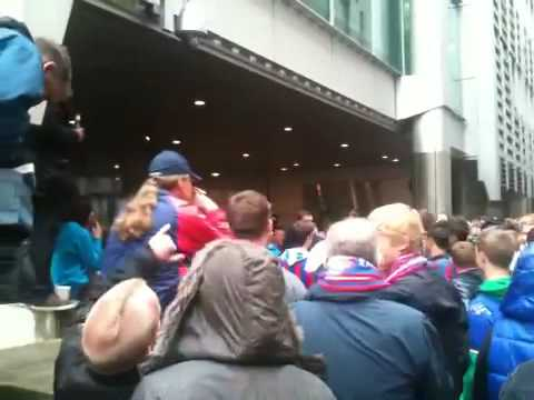 Crystal Palace fans outside Tsb in Gresham street  Part 2