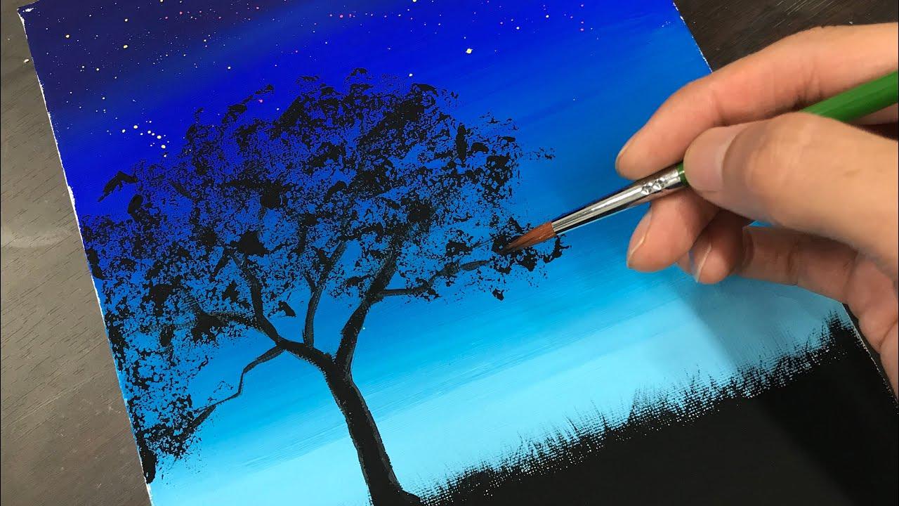 【シルエット風景の描き方】アクリル絵の具で描いてみよう
