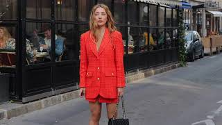 What are people wearing in Paris, October Edition. Parisian Chic Street Style, color is in the air.