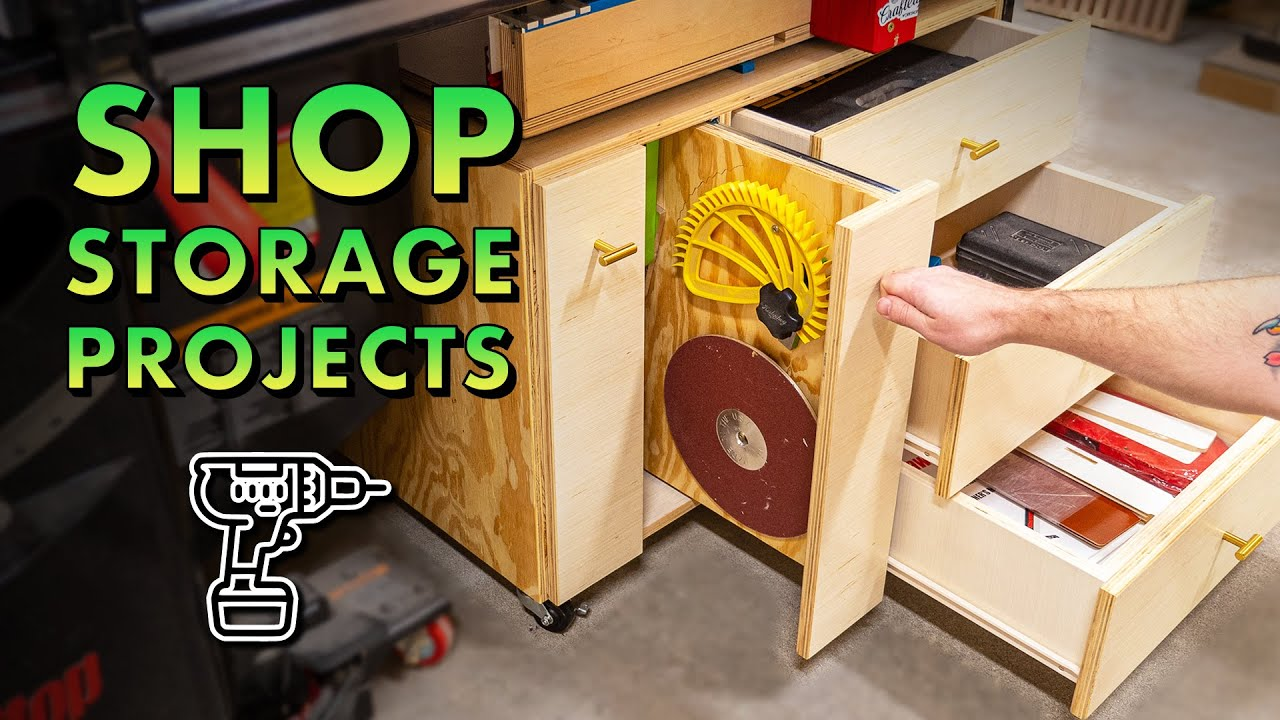 3 MORE Shop Storage Projects! Table Saw Cabinet, Plywood Rack, Drill Press Cabinet