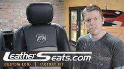Dodge Ram Crew Cab Custom 2-tone leather interior upholstery kit installation - LeatherSeats.com