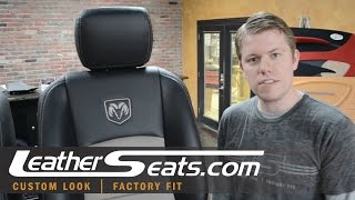 Dodge Ram Crew Cab Custom 2-tone leather interior upholstery kit installation - LeatherSeats.com