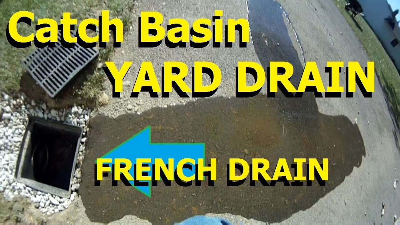 Install Catch basin and french drain, YARD DRAIN with Gravel-remove  standing water along driveway