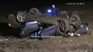 Vehicle vs Pole Fatal Crash / Riverside   RAW FOOTAGE