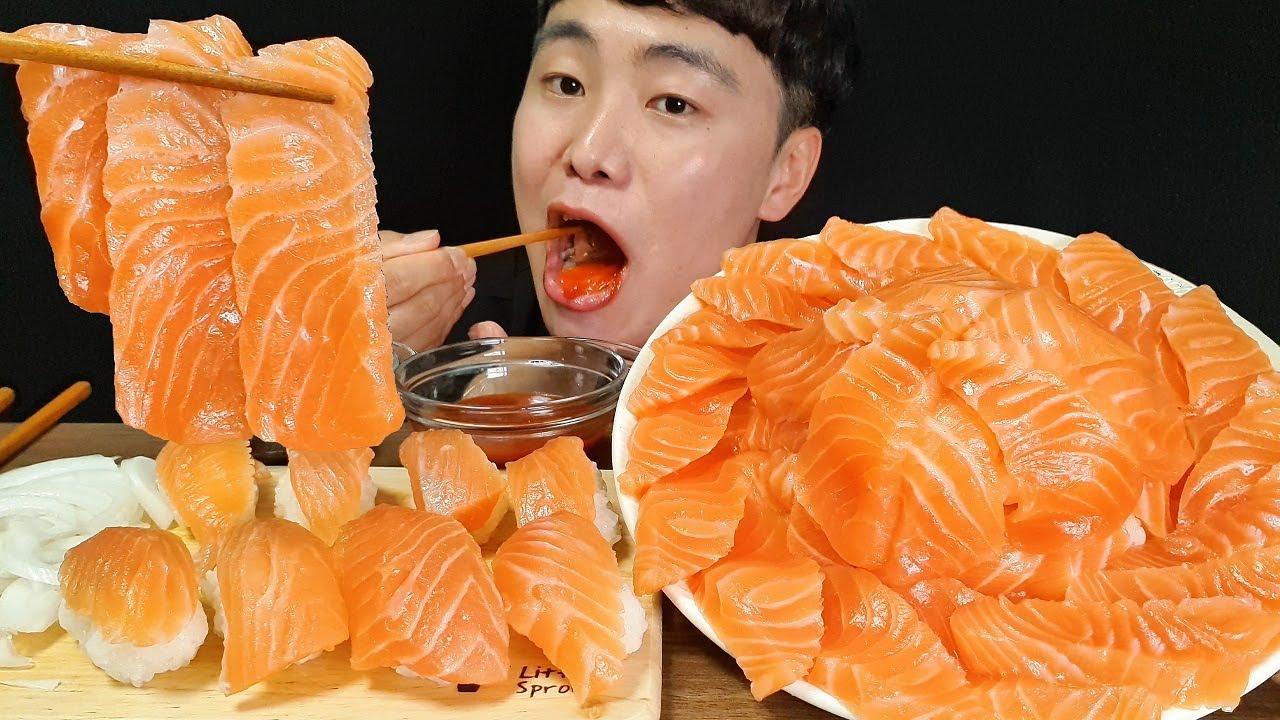 연어 곤부즈메 연어회 연어초밥 먹방 ASMR MUKBANG Salmon Sashimi Sushi Konbuzume サーモン回寿司ワゴンブーズメ ซูชิหน้าแซลมอนซาซิมิ