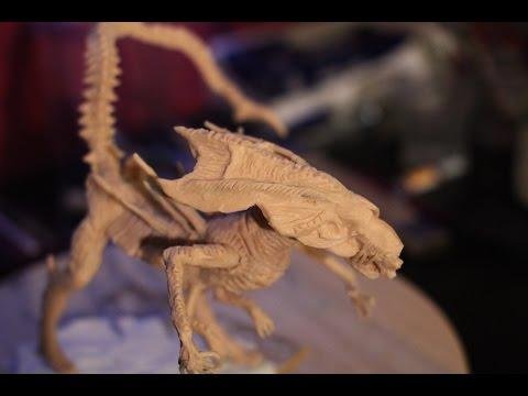Xenomorph Alien Queen sculpture TUTORIAL - part 6 - Cleaning before baking