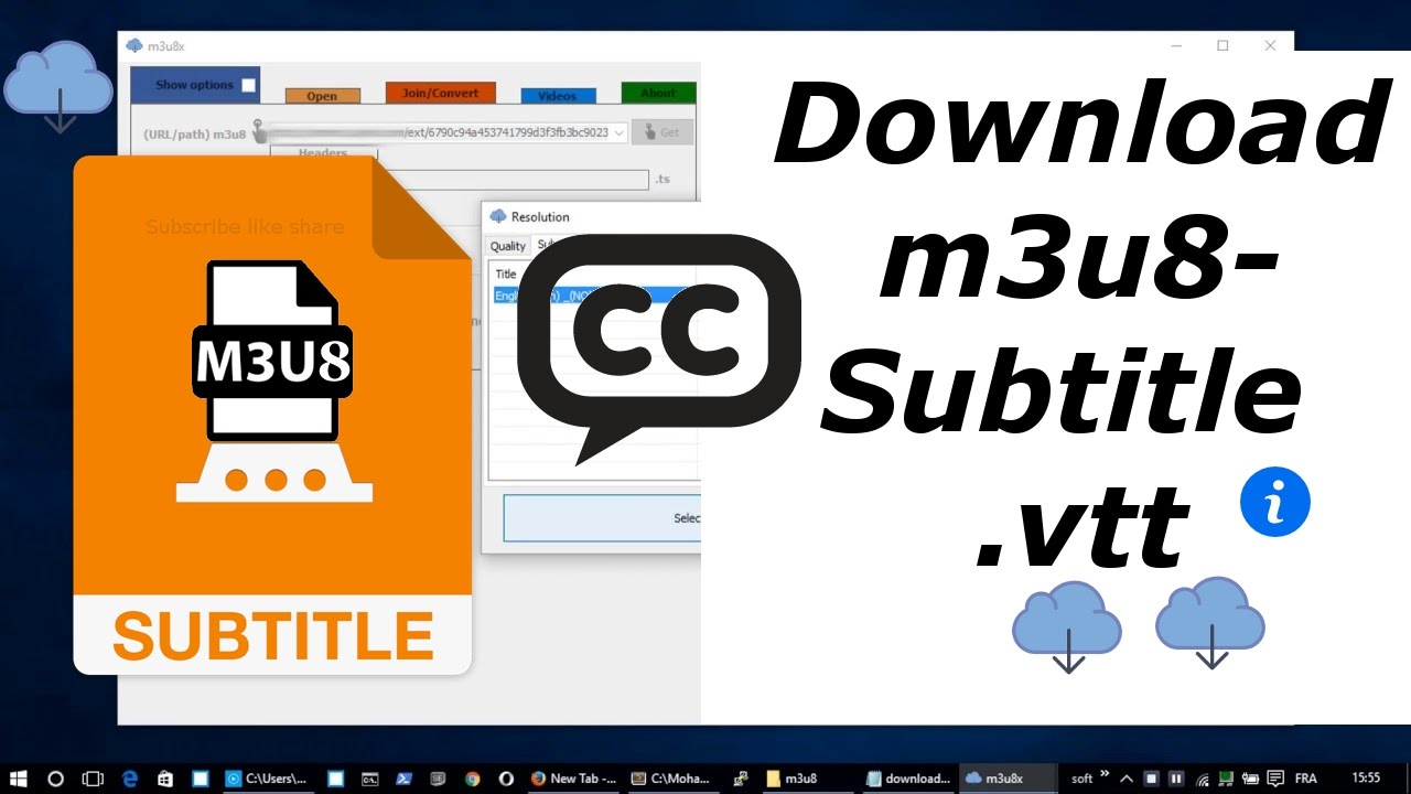 Tutorial m3u8x : Download m3u8-subtitle -  vtt - and convert to -  srt -