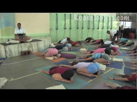 Geeta S. Iyengar teaching Adho Mukha Virasana