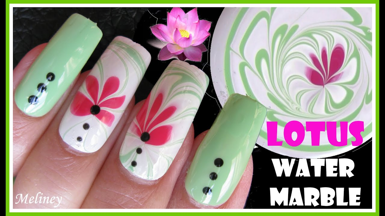 LOTUS FLOWER WATER MARBLING SUMMER NAIL ART DESIGN TUTORIAL USING ...