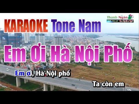 Em Ơi Hà Nội Phố Karaoke    Tone Nam - Nhạc Sống Thanh Ngân