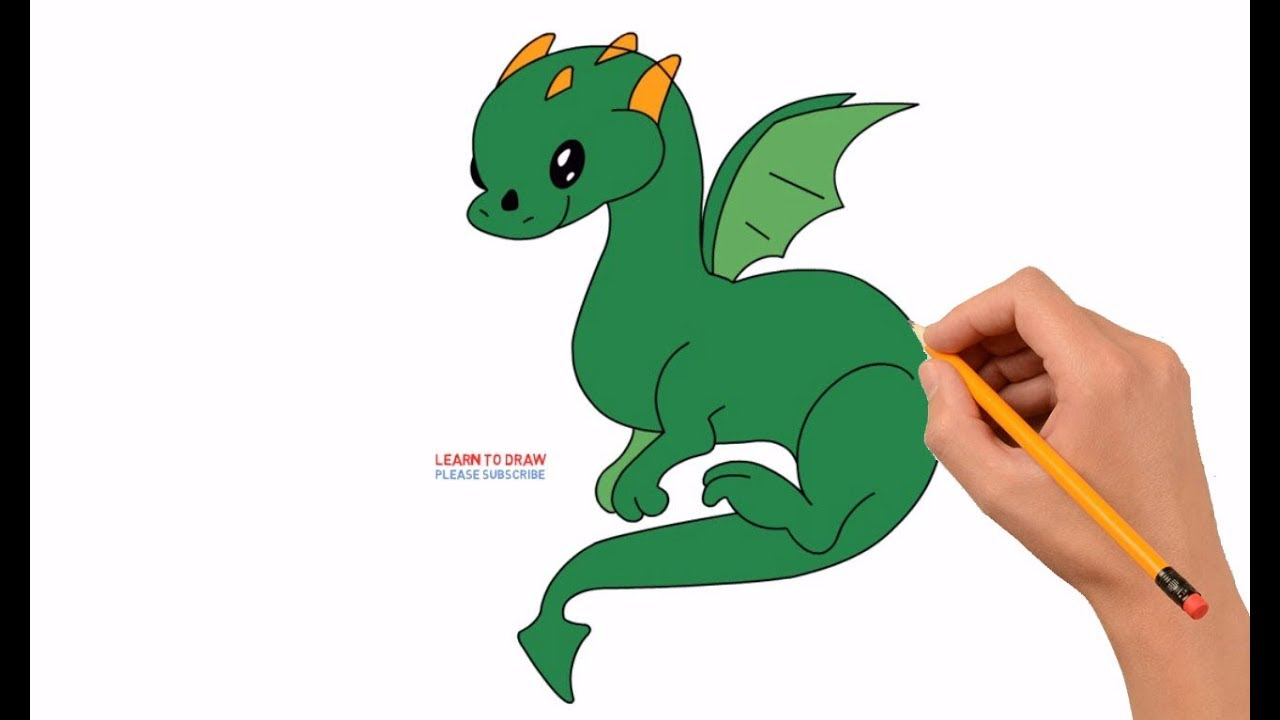 How To Draw A Cute Cartoon Dragon Step By Step Easy Youtube